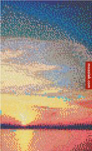 foto van ondergaande opkomende zon omzetten in mozaiek