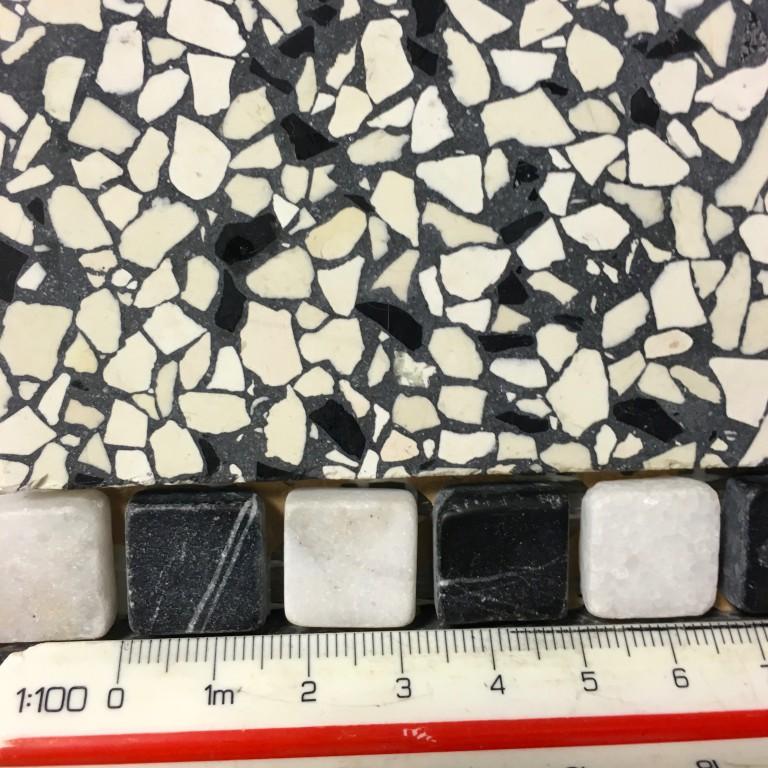 15x15mm zwart wit marmeren blokjes| jaren 30 stijl | inclusief fixeerstrips | per m1