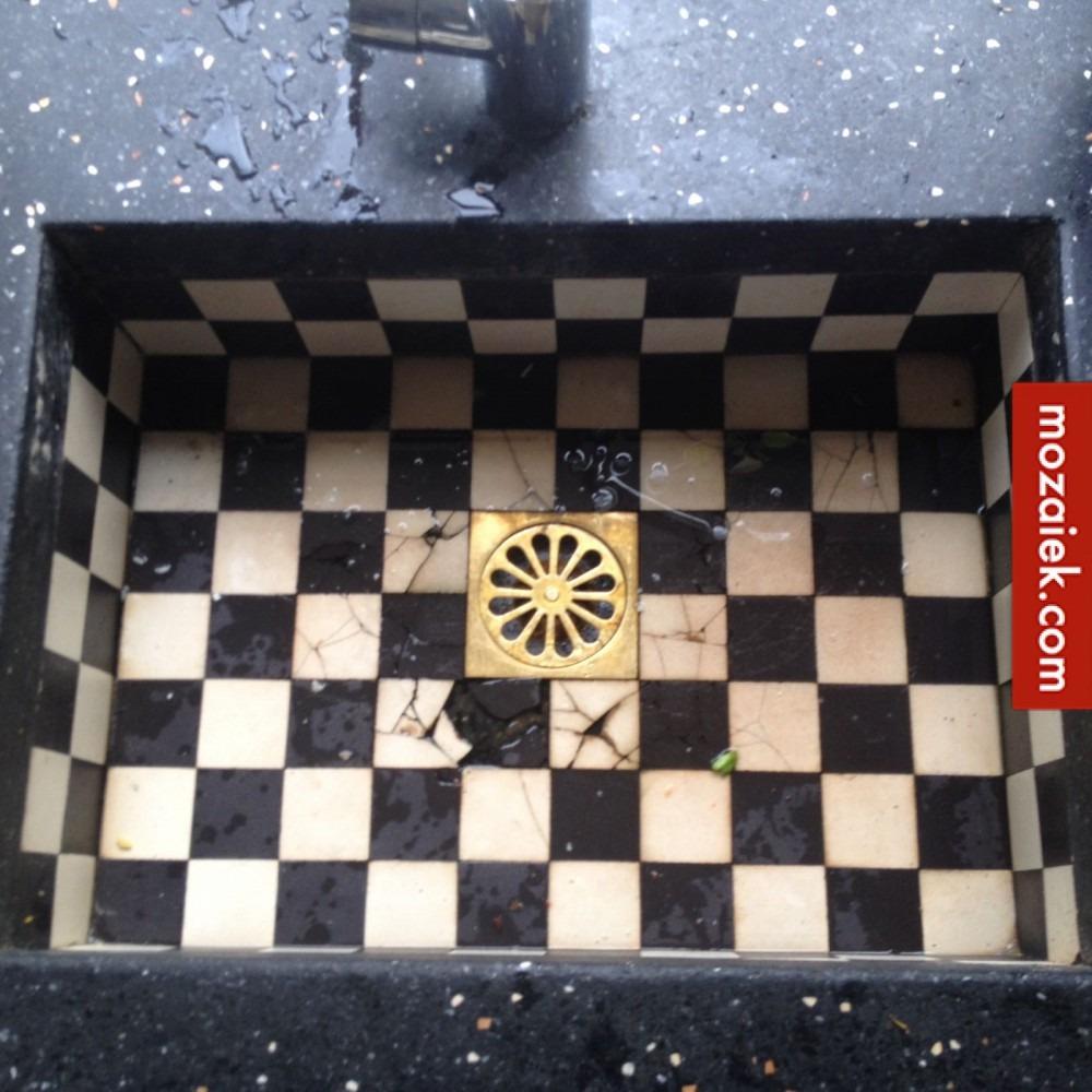 zwart wit dambord gootsteentegels 5x5cm voor herstel grootmoeders gootsteen incl.verzendkosten