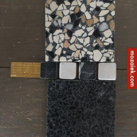 SAMPLE set granito vloertegels: licht, bont, antraciet en zwart wit blokjes voor een klassieke jaren 30 vloer