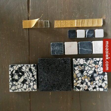 SAMPLE set granito licht, bont, antraciet en zwart wit blokjes voor een klassieke jaren 30 vloer