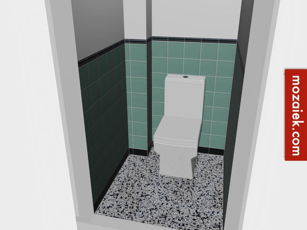 Wit kan altijd nog groen tegellambrisering met zwart wit vloer