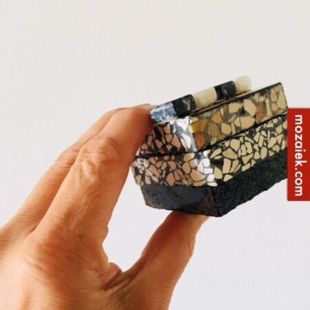 samples 15x15mm zwart wit blokjes en stukjes granito licht-bont-antraciet