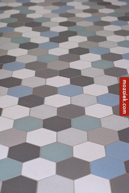 Wonderlijk poederachtige kleuren | mix van dubbelhardgebakken hexagon tegels PN-07